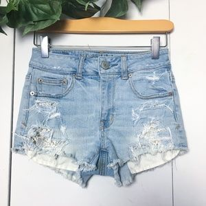 American Eagle Lace Jean Shorts in Blue | 00